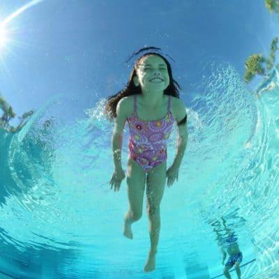 girl swimming in Palm Beach