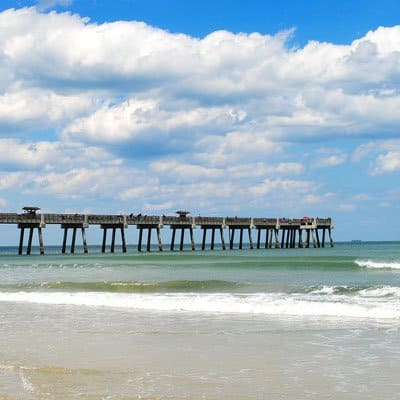 Jacksonville beach and pier in the sunset